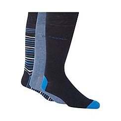 Calvin Klein - Pack of three blue and navy multi striped socks