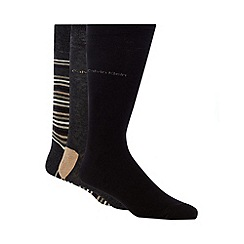 Calvin Klein - Pack of three black and beige multi striped socks