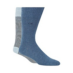 Calvin Klein - Pack of two blue and light blue striped cotton rich socks