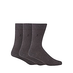J by Jasper Conran - Designer pack of three grey mottled socks