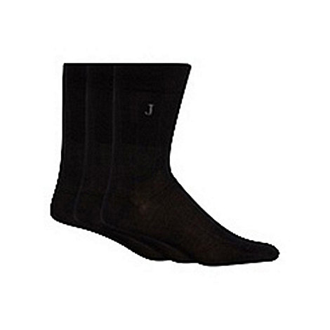J by Jasper Conran - Designer pack of three black ribbed socks