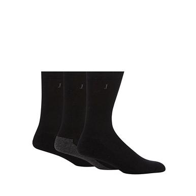 Designer pack of three black cushioned sole socks