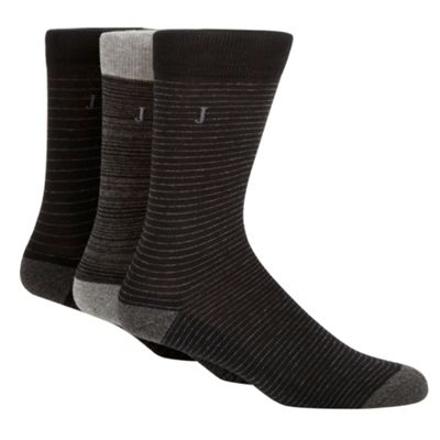 Pack Of Three Grey Stripe Socks