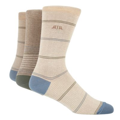 Pack Of Three Natural Striped Socks
