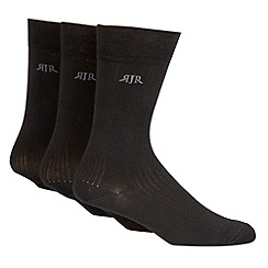 RJR.John Rocha - Designer pack of three black ribbed stripe socks