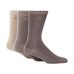 RJR.John Rocha - Designer pack of three natural ribbed socks