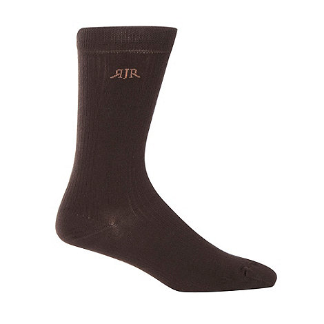 RJR.John Rocha - Designer pack of three chocolate ribbed socks
