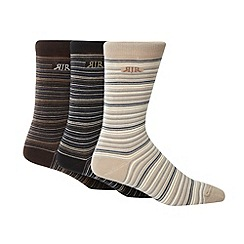 RJR.John Rocha - Designer pack of three brown fine striped socks