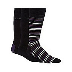 Calvin Klein - Pack of three plain black and striped socks