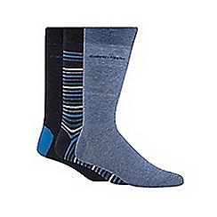 Calvin Klein - Pack of three plain blue and striped socks