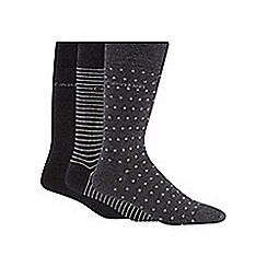 Calvin Klein - Pack of three grey plain, striped and spotted socks
