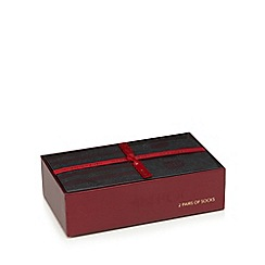 RJR.John Rocha - Pack of two dark red socks in a gift box