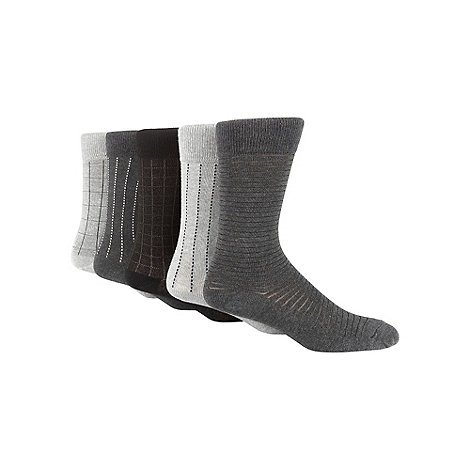 Freshen Up Your Feet - Pack of five grey grid and stripe socks