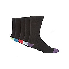 Freshen Up Your Feet - Black pack of five coloured heel and toe socks
