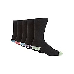 Freshen Up Your Feet - Pack of five black striped tip socks