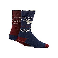Mantaray - Pack of two navy reindeer and dark red snowflake boot socks