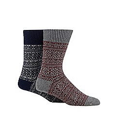 Mantaray - Pack of two navy and grey Fair Isle boot socks