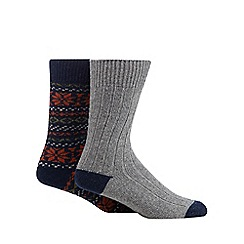 Mantaray - Pack of two navy snowflake and grey ribbed boot socks