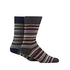Mantaray - Pack of two navy and grey multi striped boot socks