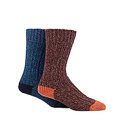 Mantaray - Pack of two blue and dark red twisted yarn boot socks