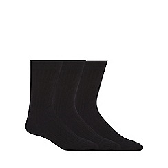 Maine New England - Pack of three black lambswool blend socks