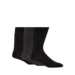 J by Jasper Conran - Pack of three black and grey diamond socks