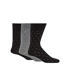 J by Jasper Conran - Pack of three black and grey spotted socks