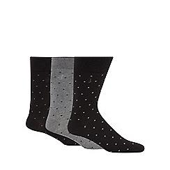 J by Jasper Conran - Pack of three black and grey spotted socks