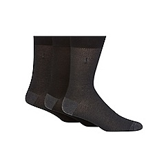 J by Jasper Conran - Pack of three black and dark grey pindot socks