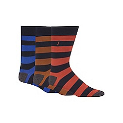 J by Jasper Conran - Pack of three assorted striped socks