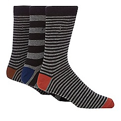 J by Jasper Conran - Pack of three grey striped socks