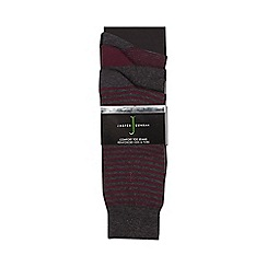 J by Jasper Conran - Pack of three grey and dark red striped and plain socks