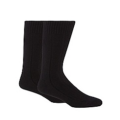 Maine New England - Pack of two black rib thermal short socks