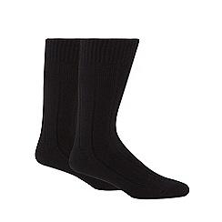 Maine New England - Pack of two black rib thermal short socks