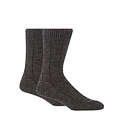Maine New England - Pack of two grey rib thermal short socks