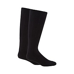 Maine New England - Pack of two black rib thermal long socks