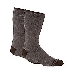 Maine New England - Pack of two brown thermal short socks
