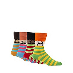 Red Herring - Pack of four assorted stripes and faces socks
