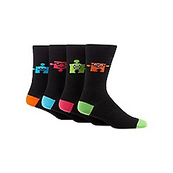 Red Herring - Pack of four black puzzle socks