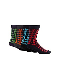 Red Herring - Pack of four assorted oversized houndstooth socks