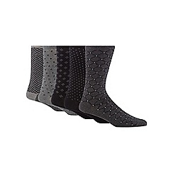 Freshen Up Your Feet - Pack of five grey and black mix patterned socks