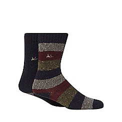 Mantaray - Pack of two navy plain and striped boot socks