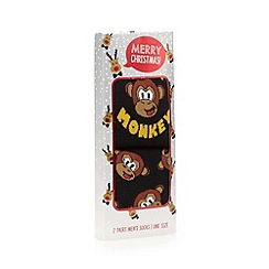 Debenhams - Pack of two black monkey socks