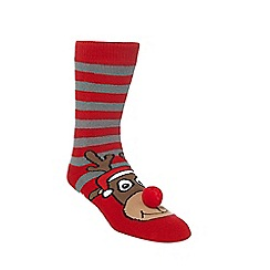 Debenhams - Red reindeer slipper socks