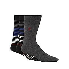 Pringle - Pack of three striped black socks