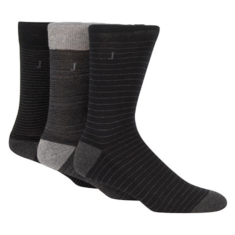 J by Jasper Conran - Designer grey pack of three striped cushioned socks