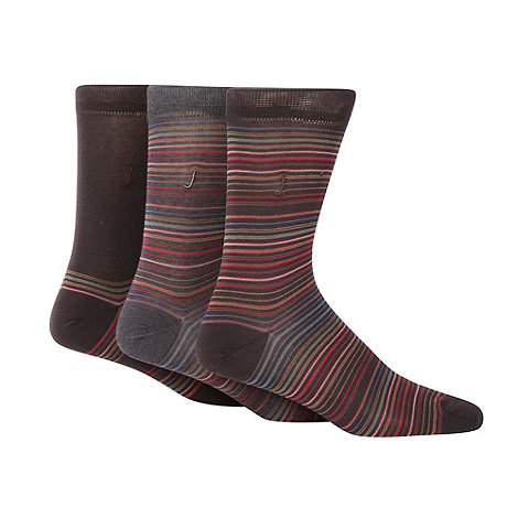 J by Jasper Conran - Designer pack of three brown fine stripe socks