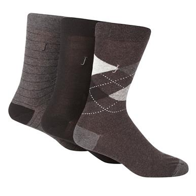 Designer pack of three grey and black socks