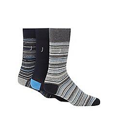 J by Jasper Conran - Pack of three grey striped socks
