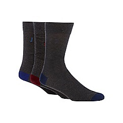 J by Jasper Conran - Pack of three grey reinforced socks